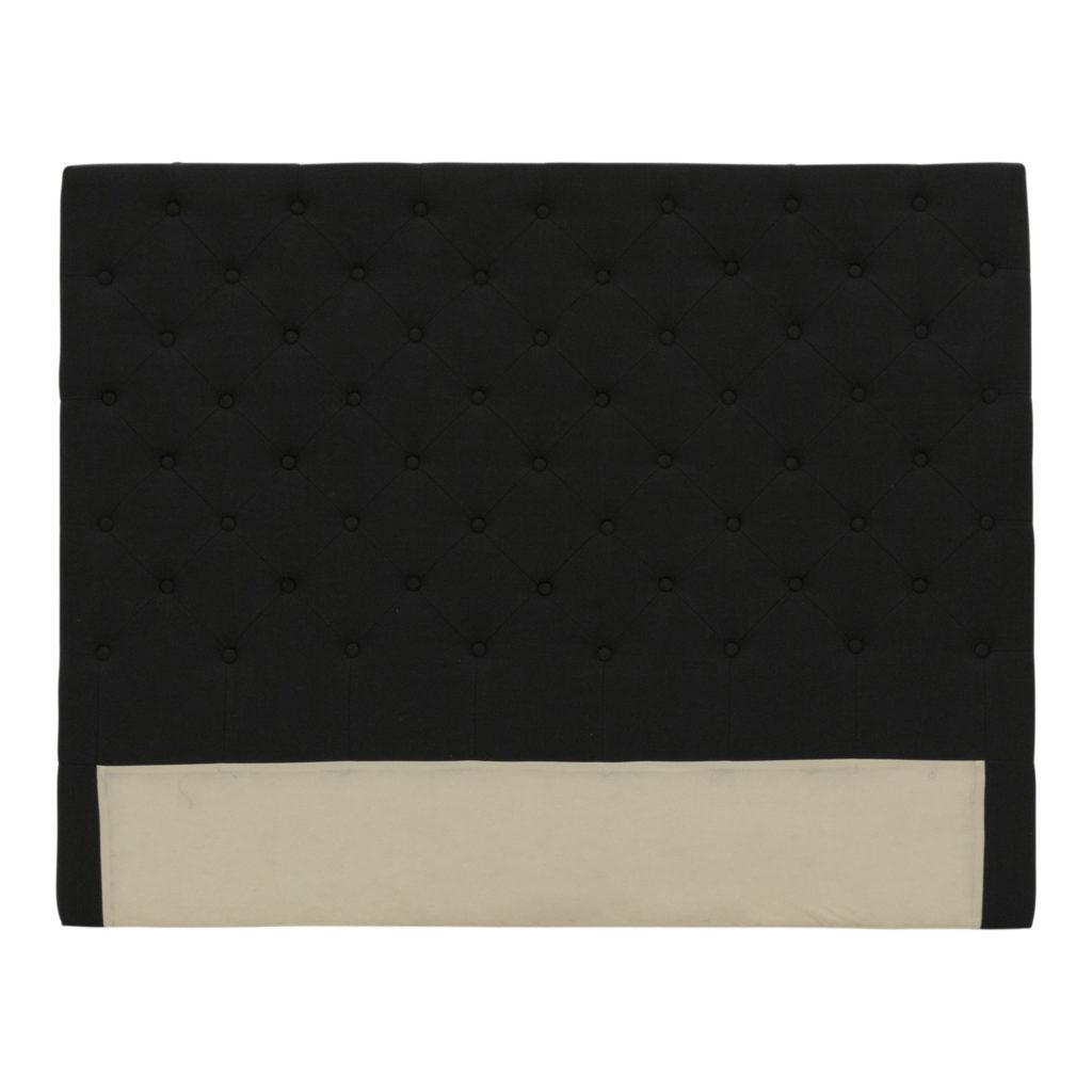 Buttoned Queen Headboard Black_1 Front